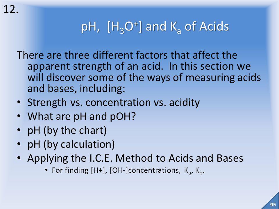 12. pH, [H3O+] and Ka of Acids.